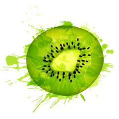 Kiwi fruit slice made of colorful splashes on white background