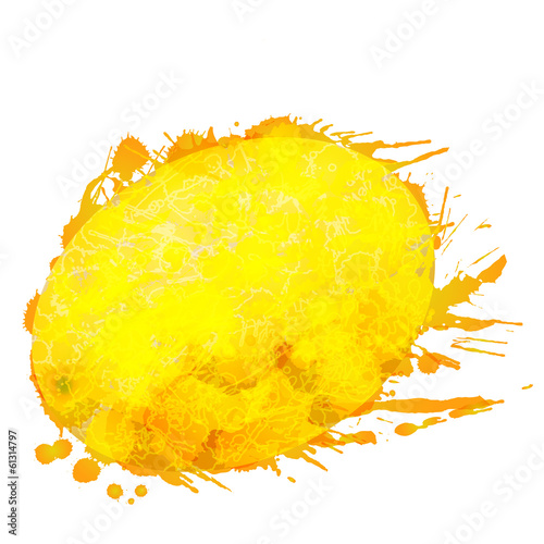 Melon made of colorful splashes on white background