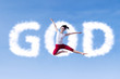 Girl Jumping With Clouds God