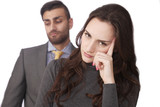 Couple stressed relations, focus on woman