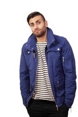 Young man hanging around in casual jacket