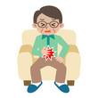 腹痛のシニア男性