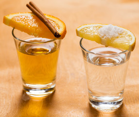 SIlver and golden tequila