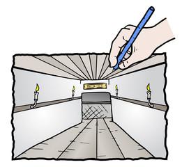Draw hallway