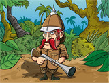 Cartoon big game hunter