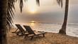 Swimming Couple at Beautiful tropical sunrise