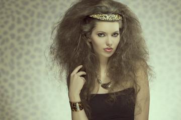 sensual fashion girl with wild style