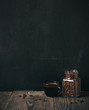 coffee and beans on blackboard background. copy space