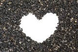 sunflower seeds with white heart shaped copy space