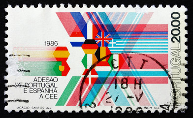 Postage stamp Portugal 1986 Flags of EEC Member Nations