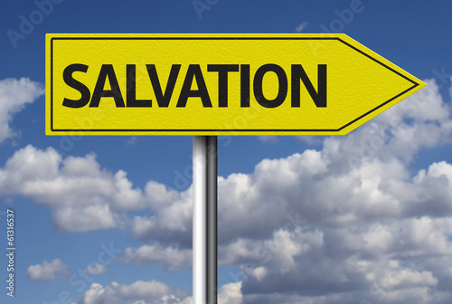 Salvation creative sign with clouds as the background