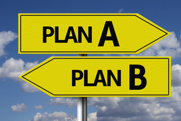 Creative sign with the message - Plan A or Plan B