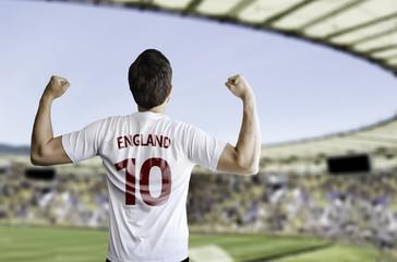 English fan celebrates on the stadium