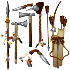set of  weapons American Indian 01