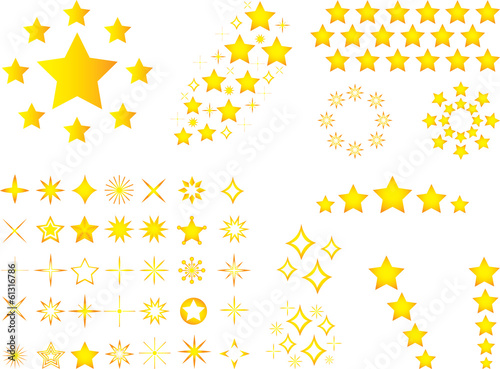 Set of yellow stars illustrated on white background