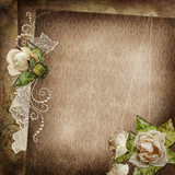 Vintage shabby background with faded roses, brooch and lace
