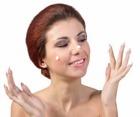 Young Beautiful Girl with Fresh Facial Skin.Skin Care