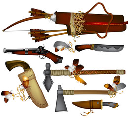 set of  weapons American Indian 02