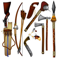 set of  weapons American Indian 03