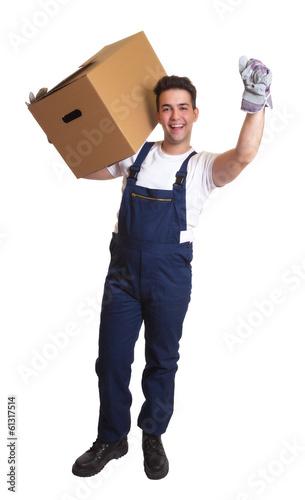 Lachender Möbelpacker - ganzer Körper
