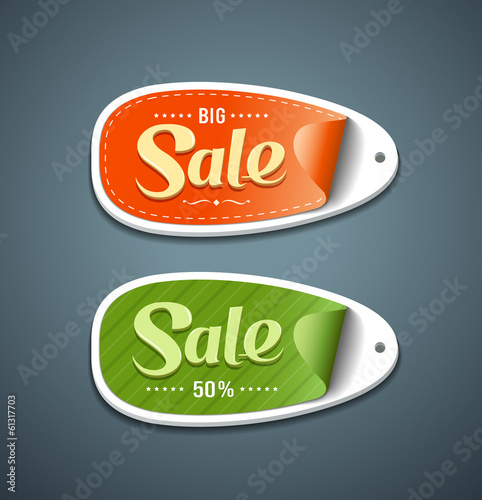Orange and Green Labels paper for sale