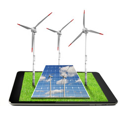 Tablet with a wind turbines and solar panel.