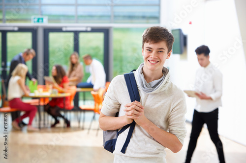 Portrait Of Teenage Male Student In Classroom