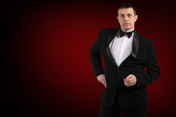 Elegant Men in Classical Tuxedo.Fashion