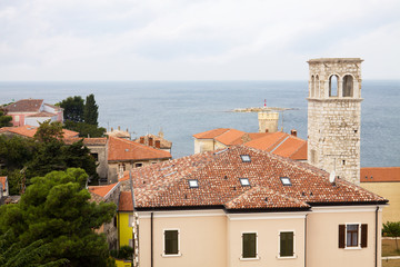 The aerial view of Porec city with the Adriatic sea