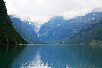 A typical Norwegian landscape with a lake