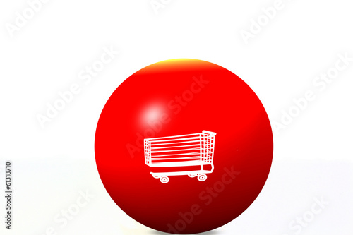 white shopping cart on red globe and white background