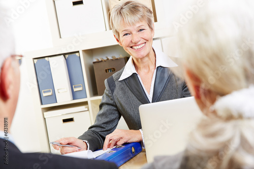 Consultant in bank giving financial advice