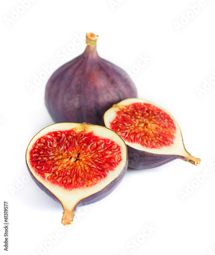 Fresh figs isolated on white