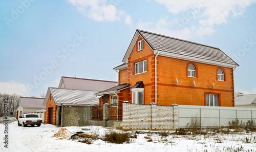 Red brick cottage in winter