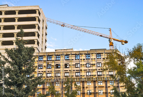 Crane on construction of high-rise building