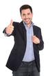 Erfolgreicher junger Business Mann isoliert in blau weiß