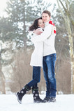 Loving couple in winter