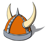 Cartoon viking helmet with horns. Vector illustration