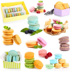 Collage of different gentle macaroons isolated on white