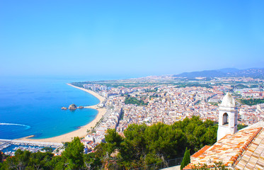 View of Spanish beach of resort town Blanes. Costa Brava, Spain
