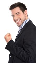 Lachender glücklicher business Mann isoliert in Anzug