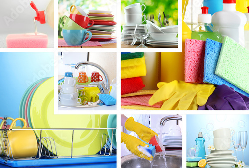 Collage of washing dishes close-up