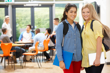 Portrait Of Female Teenage Students In Classroom