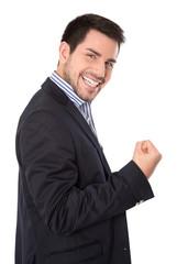 Erfolgreicher junger Business Mann siegreich