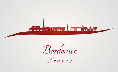 Bordeaux skyline in red