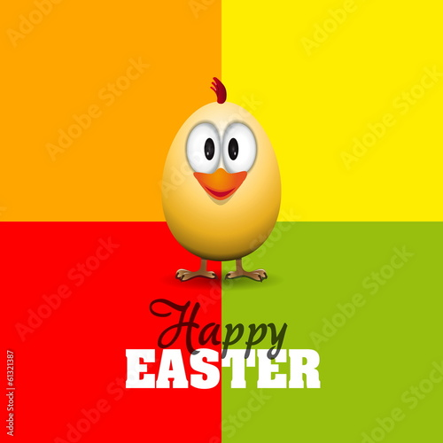 Funny Easter egg chick, Happy easter card