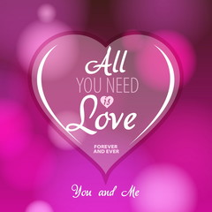 Love theme, Valentine Romantic card on a soft blurry background,