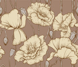 Vintage seamless pattern of pastel color poppies