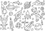 Outer Space Sketch Doodle Vector Set poster
