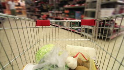 trolley in a supermarket timelapse